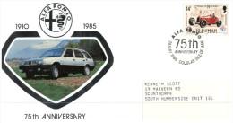 (806) Isle Of Man FDC Cover -  1985 - Alfa Romeo 75th Anniversary - 1910 - 1985 - Autos