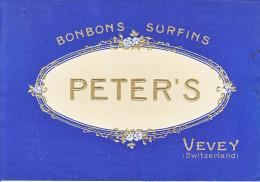 PETER'S BONOBONS SURFINS - VEVEY - ANCIENNE ETIQUETTE DE BOITE POUR BONBONS - Publicités