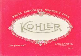 KOHLER CHOCOLATE -  BONOBONS SURFINS - LAUSANNE - ANCIENNE ETIQUETTE DE BOITE POUR BONBONS - Publicités