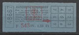Hungary, Budapest, Bus Ticket,  �70s