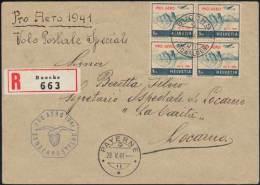 Pro Aero Sonderflug 1941per R-Brief - 4er Block Der Mi. 395 Von Buochs  28.5.41!! - Poste Aérienne
