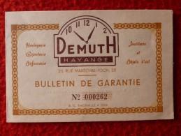 BIJOUTERIE DEMUTH HAYANGE GARANTIE MONTRE 1954 - Documentos Históricos