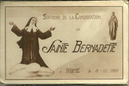 Theme Religion Catholique Canonisation De Sainte Bernadette ROME 1933 12 Cartes (complet) Dans Pochette Depliant - Saints