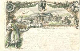 1896 Gruss V.d. Austellung Stuttgart Pc Vignette Used To Offenbach - Exhibitions