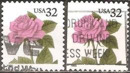 États Unis - 1995 - Roses Roses - YT 2341 Et 2341a Oblitérés - Rose