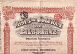 ACTIONS - BELGIQUE - BRUXELLES - MINES DE WOLFRAM DE BALBORRAZ , ESPAGNE - ACTION ORDINAIRE - 30  COUPONS - 1913 - Mineral
