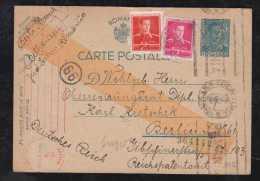 Rumänien Romania 1942 Double Censor Stationery Card 5L To BERLIN Germany - 1918-1948 Ferdinand, Carol II. & Mihai I.