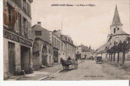 JAUNAY CLAN (VIENNE) LA PLACE ET L'EGLISE (ATTELAGE CHEVAL) - Autres Communes