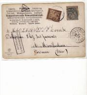 1905 - TYPE BLANC - TAXE 10 CENTIMES T - SURCHARGE AFFRANCHISSEMENT INSUFFISANT - POUR MONTALIER VERCIEU - Marcophilie (Lettres)
