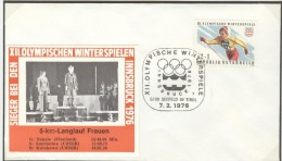 AUSTRIA Cover With Picture Of The Medalwinners 5km. Crosscountry Ladies With Cancel 6100 Seefeld In Tirol Nr. 7 - Winter 1976: Innsbruck