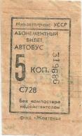 URSS Ticket autobus � 5 kopecks UKRAINE