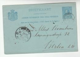 1890 Zutphen NETHERLANDS Postal STATIONERY CARD To Berlin Cover Stamps - Postal Stationery