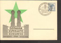Esperanto Kongress München 1948 Auf Sonderstempel Vom 16.5. Blanko Sonderkarte - Esperanto