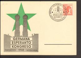 Esperanto Kongress München 1948 Auf Sonderstempel Vom 17.5. Blanko Sonderkarte - Esperanto