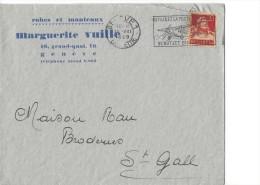 12797 - Lettre Robes Et Manteaux Marguerite Vuille Genève Pour St Gall 10.08.1929 - Suisse