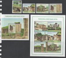 TANZANIA ,2014, MNH, HERITAGE SITES, FORTS, BOATS, RUINS, STONE AGE SITES, PRIMITIVE MEN, 4v+SHEETLET+S/SHEET - Architectuur