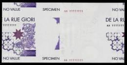 "Test Note DE LA RUE GIORI ""Da Vinci"" Type B, Testnote,  170 X 90 Mm,beids. Druck, RRR, UNC, Echantillon, SPECIMEN, Trial - Sonstige – Europa"