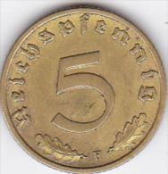 ALLEMAGNE . 5 REICHSPFENNIG 1937 F (STUTGART).