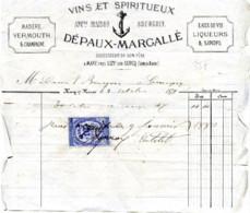 Dép.77  MARY Près LIZY Vins Et Spiritueux Champagne DEPAUX-MARGALLE Timbre Fiscal 1879 - France