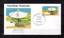 """(Faciale = 2.51 €) POLYNESIE FRANCAISE 1988 : Env 1er Jour """" RESEAU POLYSAT / PAPEETE 15-06-88 """" N°YT 306. Parf état.FDC"""