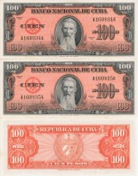 1959  LOT OF 2 BILLS # SEQUENCE. 100  PESOS  BANCO NACIONAL UNCIRCULATED - Cuba