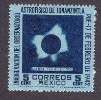 Mexico, Scott #775, Mint Hinged, Total Solar Eclipse,  Issued 1942 - Mexico