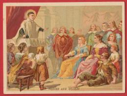 Chromo Bon Point  Saint Vincent De Paul - Prêche Aux Grands , Format : 9 * 11,8 Cm , Recto Verso . - Images Religieuses
