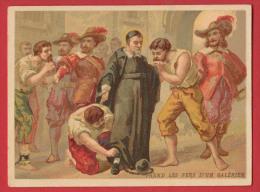 Chromo Bon Point  Saint Vincent De Paul - Prend Les Fers D'un Galérien , Format : 9 * 11,8 Cm , Recto Verso . - Imágenes Religiosas