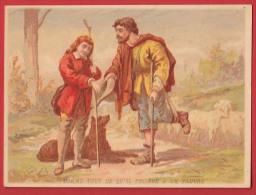 Chromo Bon Point  Saint Vincent De Paul - Donne Tout , Format : 9 * 11,8 Cm , Recto Verso . - Images Religieuses
