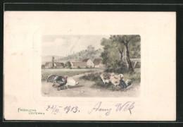 Künstler-AK Alfred Schönian: Fröhliche Ostern, Truthahn, Pute, Hühner - Künstlerkarten