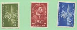 NAN SC #203-5 MH (204 NH)  1949 Discovery Of Curacao, CV $12.50 (if NH) - Curacao, Netherlands Antilles, Aruba