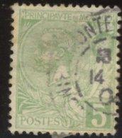Monaco - Oblitéré - Charnière YT N° 22 Prince Albert 1er 5c Vert-jaune - Monaco