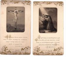 2 Images Religieuse Gaufrée - Dorée  - Souvenir De Sous-Diaconat - Chavagnes En Paillers - 09.07.1911 - Raymond Marceau - Images Religieuses