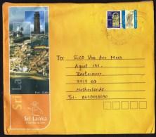 Sri Lanka: Cover To Netherlands, 2015, 2 Stamps, Imprinted Customs Label, Religious Sculptures (creases) - Sri Lanka (Ceylon) (1948-...)