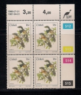 CISKEI, 1987, MNH Control Block Stamps, Definitive 16 Cent Bird,  M 114 - Ciskei