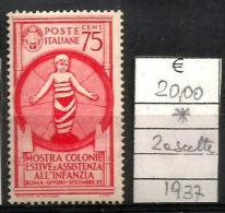 1937 REGNO  Colonie Estive 75c  Nuovo * MLH - Nuovi