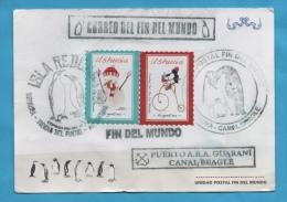 ARGENTINE CARTE CORREO DEL FIN DEL MUNDO USHUAIA ISLA CANAL BEAGLE  PINGOUINS MANCHOTS - Argentina