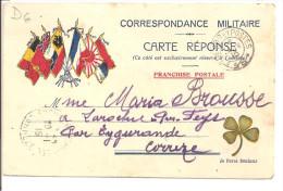 Correspondance Militaire - Carte Réponse - Franchise Postale - Carte Illustrée Faisceau De 6 Drapeaux Couleur -et Trèfle - Guerre 1914-18
