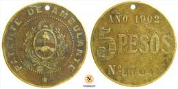 MEDAGLIA MEDALLA 1902 PATENTE VENDITA AMBULANTE ARGENTINA  (nc1083) - Gettoni E Medaglie