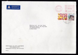 Switzerland: Cover To Germany, 1996, Mix Of 2 Stamps And Meter Cancel, To & From Dutch Embassy (traces Of Use) - Zwitserland