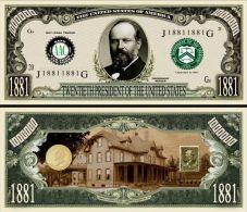 Billet de collection USA P-20 President Garfield Million Dollars Paper Money Collector unc