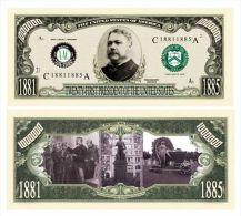Billet de collection USA P-21 President Arthur Million Dollars Paper Money Collector unc