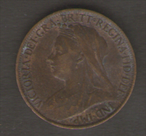 GREAT BRITAIN / GRAN BRETAGNA - QUEEN VICTORIA -  1 FARTHING ( 1901 ) - 1816-1901: 19. Jh.