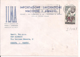 ILMA, TORINO,MACCHINE E ABRASIVI,  BUSTA COMMERCIALE VIAGGIATA  1966, POSTE TORINO TARGHETTA, GENOVA SESTRI, - Italia