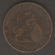 SPAGNA SERIE 2 MONETE 10 - 5 CENTIMOS 1870 - [ 1] …-1931 : Regno