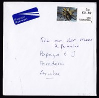 Ireland: Airmail Cover To Aruba, 2012, ATM Machine Label, Priority Label, Spider, Rare Destination (traces Of Use) - Covers & Documents