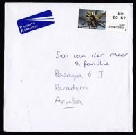 Ireland: Airmail Cover To Aruba, 2012, ATM Machine Label, Priority Label, Spider, Rare Destination (traces Of Use) - 1949-... Repubblica D'Irlanda