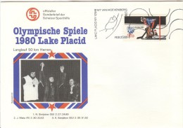 USA Illustrated Cover With The Winners Of 50km. Crosscountry Men With Olympic Stamp And Olympic Cancel - Winter 1980: Lake Placid