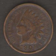 U.S.A. - STATI UNITI D' AMERICA - ONE CENT ( 1901 ) - INDIAN HEAD - Emissioni Federali