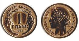 ** 1 FRANC MORLON  1931 ETAT TTB ** B32 ** - France
